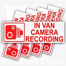 5 x Small In VAN Camera Recording-Red on White-Security Stickers-87mmx30mm-Dashboard CCTV Sign-Van,Lorry,Truck, Ford Transit,Bus-Go Pro,Dashcam